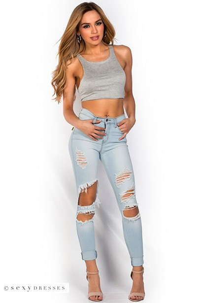 Blue Light Wash Stretch Denim Ripped Skinny Jeans