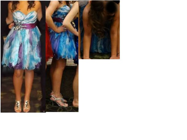 dress blue purple blue dress purple dress tulle dress short dress prom dress homecoming dress sexy dress sky blue dresss ombre dress