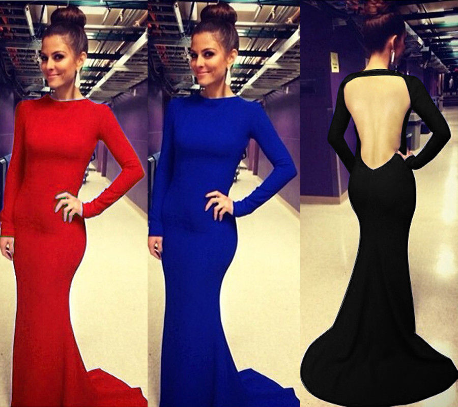 Backless Women Hot Sexy Long Sleeve Prom Ball Evening Gown Cocktail Party Dress