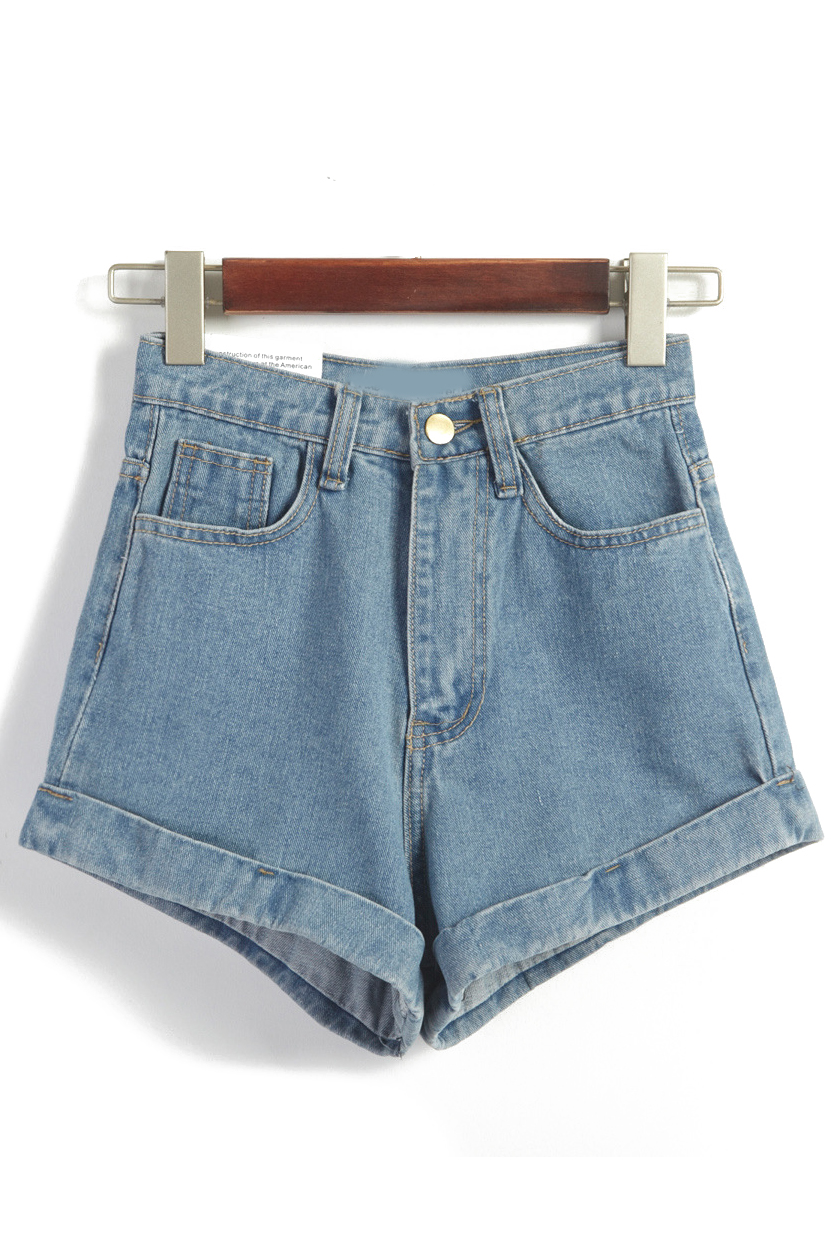 Waist Loose Denim Blue Shorts