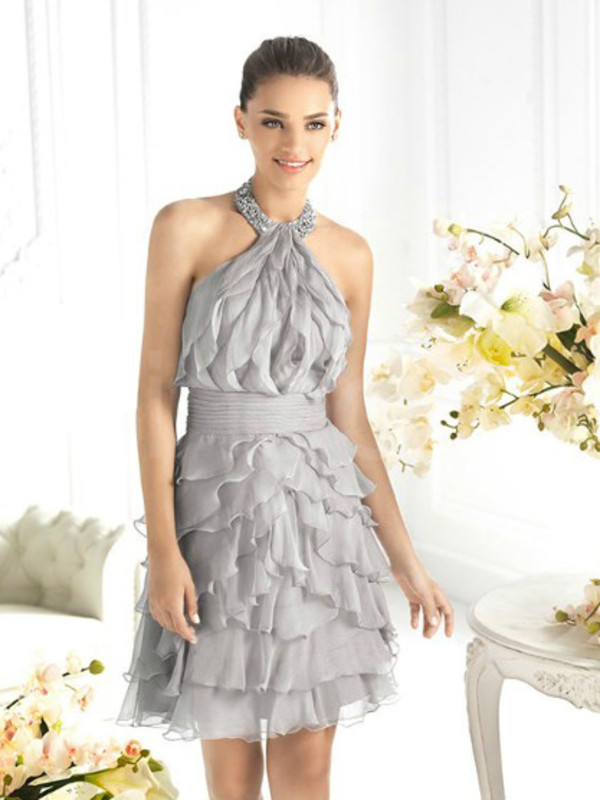 dress chiffon with rhinestones
