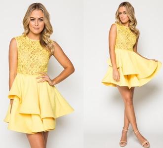 dress yellow short flowers lace layers yellow dress homecoming dress party dress