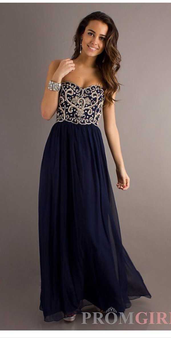 Dress: maxi dress, prom dress, navy, long prom dress - Wheretoget