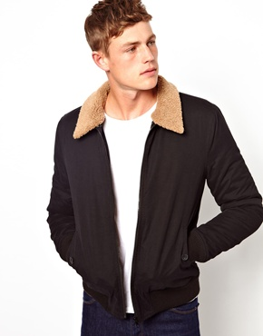 ASOS | ASOS Bomber Jacket With Borg Collar at ASOS