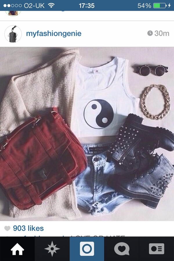 tank top yin yang hipster biker boots shorts levi shorts cardigan sunnies bag sunglasses jewels shoes