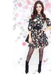 dress,floral,floral dress,mini dress,victoria justice,ankle boots,belt,spring outfits,spring dress