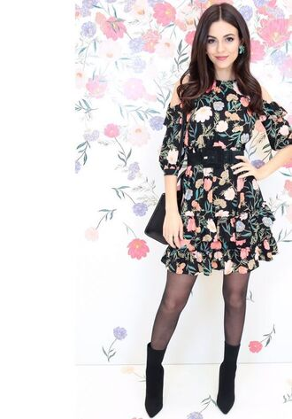 dress floral floral dress mini dress victoria justice ankle boots belt spring outfits spring dress