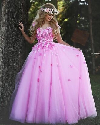 dress flower crown pink dress floral floral dress pink floral dresses pink floral dress prom dress prom homecoming dress homecoming pink long dress flowers