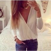 top,causal loose,chiffon,vneck shirt,blouse,white,znu