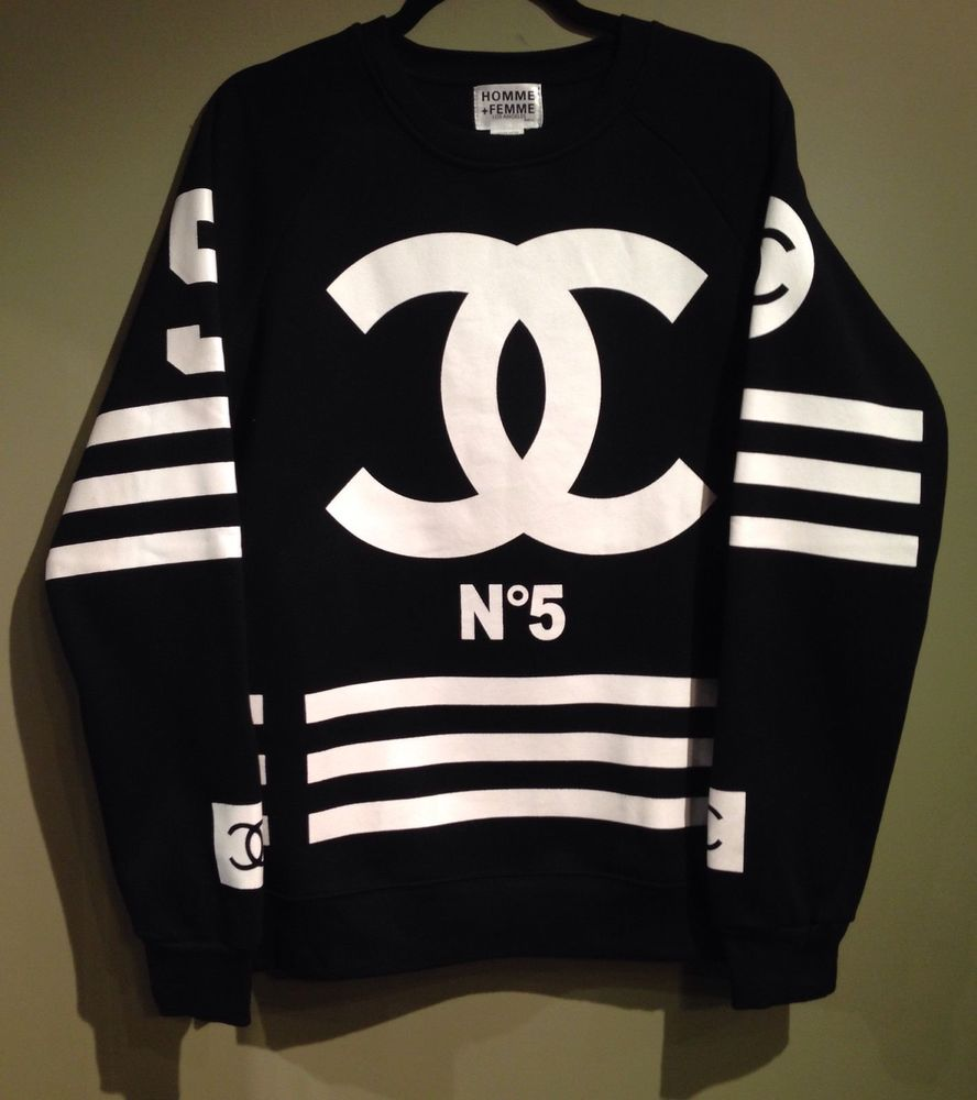 Authentic homme femme sweater limited edition sold out for Chanel logo t shirt to buy