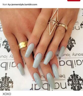 nail polish blue acrylic nails ring gold rhinestones jewels jewelry rings and tings gold ring bling kylie jenner jewelry celebrity style celebrity celebstyle for less