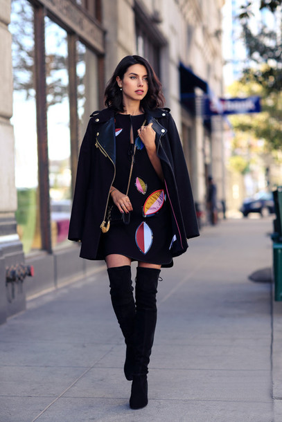 viva luxury blogger thigh high boots leather jacket shift dress top shoes bag jewels