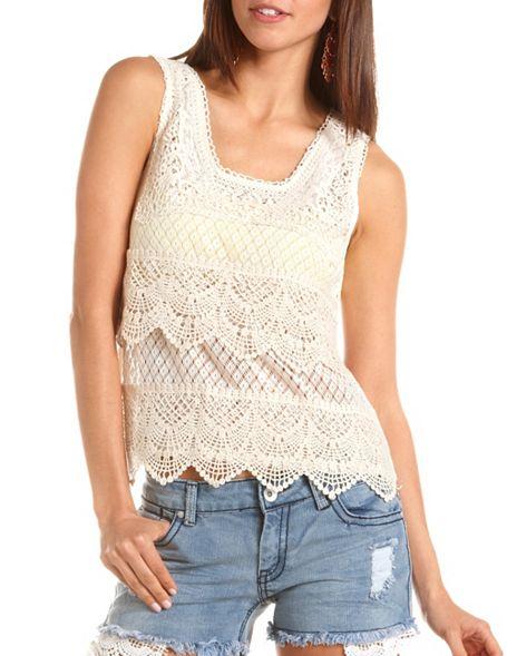 Scalloped crochet lace tank: charlotte russe