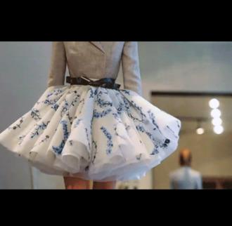 tulle skirt puffy blue flowers