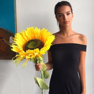 dress black dress emily ratajkowski off the shoulder instagram sunflower