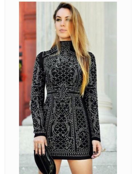 dress high neck black black dress black beaded dress
