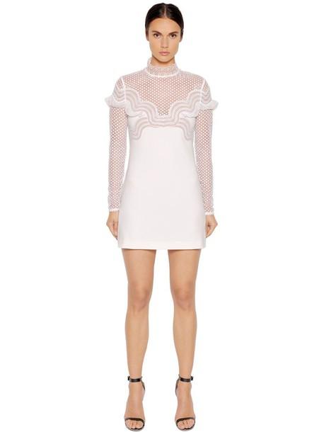 self-portrait dress mini dress mini mesh lace white