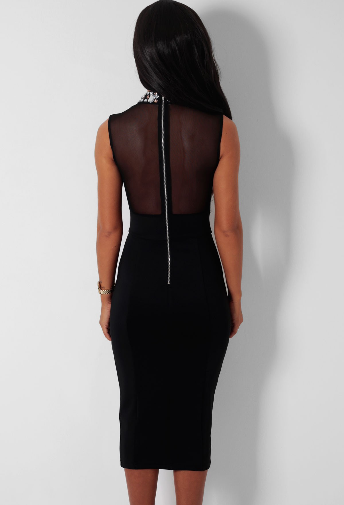 Attraction Black Embellished Mesh Bodycon Midi Dress   Pink Boutique