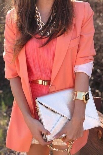jacket blazer shorts chunky necklace belt bracelets orange spring outfits