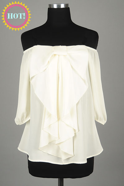 Ivory off shoulder front bow top – betsy boo's boutique