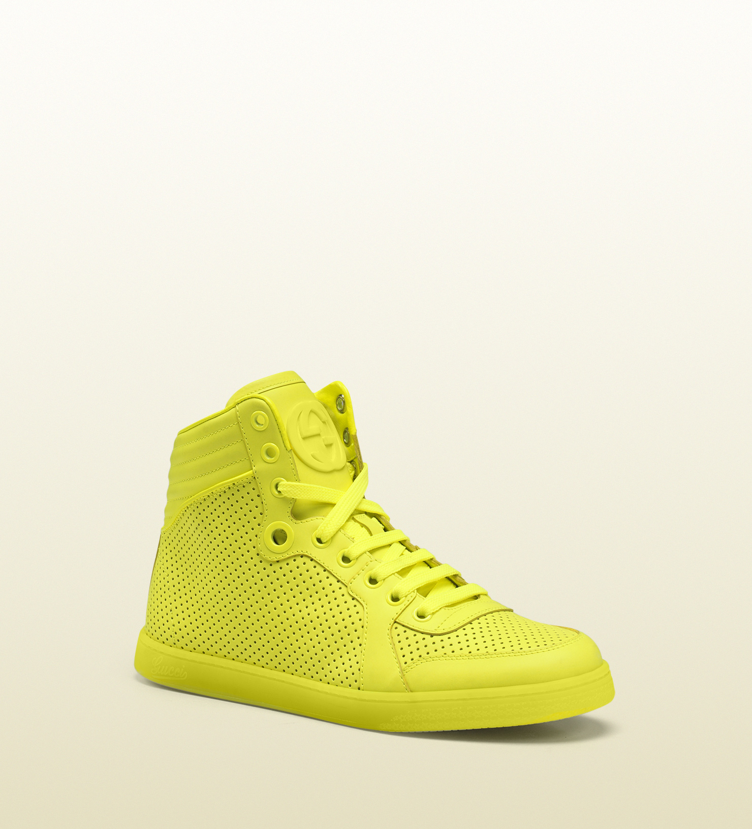Coda neon yellow leather sneaker 323812dbl507102