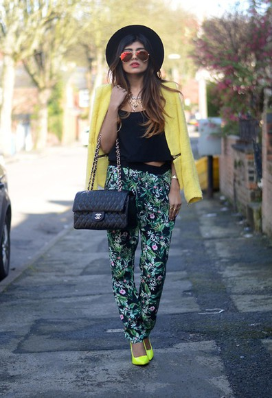 bottoms green yellow pant plants sunglasses blogger