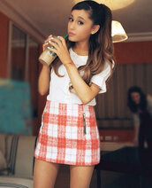 skirt,shirt,white,blouse,peter pan collar,ariana grande,grande,vintage,red and white,checked shirt,t-shirt,ariana grane,checkered,dress,plaid skirt,orange skirt,white blouse,orange plaid skirt,tartan,tartan jacket,cute dress,pink,topshop,starbucks coffee,outfit,summer dress,style,fashion,fall sweater,orange,red