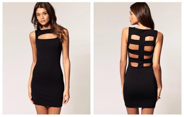 Cut out back dress black
