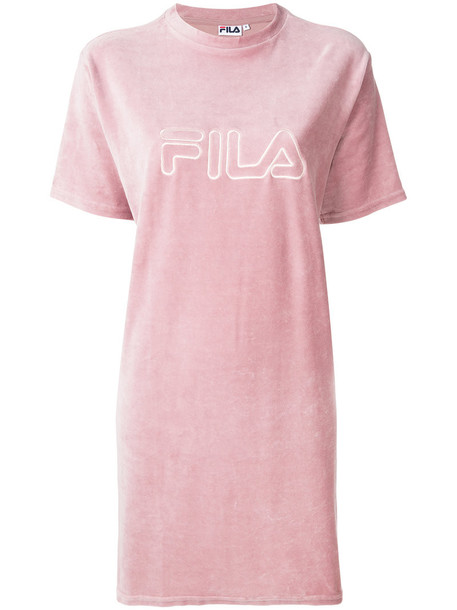 fila t-shirt shirt t-shirt embroidered women cotton purple pink top