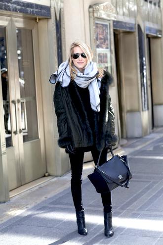 krystal schlegel blogger scarf black bag leather jacket black boots gloves jeans jacket shoes sunglasses