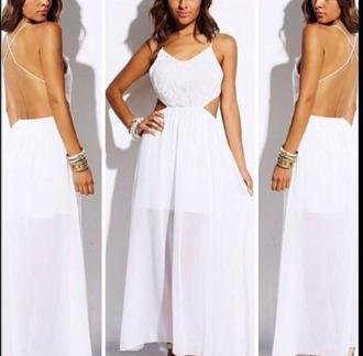 dress white dress maxi dress long dress open back dress
