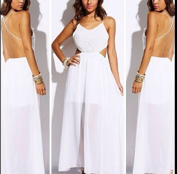 dress white dress maxi dress long dress open back