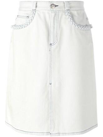 skirt denim skirt denim women slit spandex white cotton