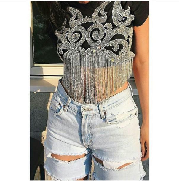 t-shirt crop tops silver black