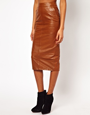 ASOS Pencil Skirt In Leather at ASOS