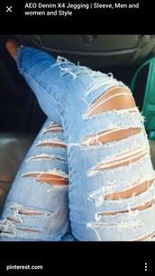 jeans,aeo,destroyed skinny jeans,skinny jeans,light washed denim
