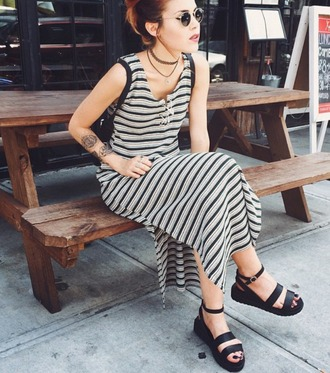 dress vintage stipes stripes luanna perez lehappy 90s style 80s style boho coachella grey blue