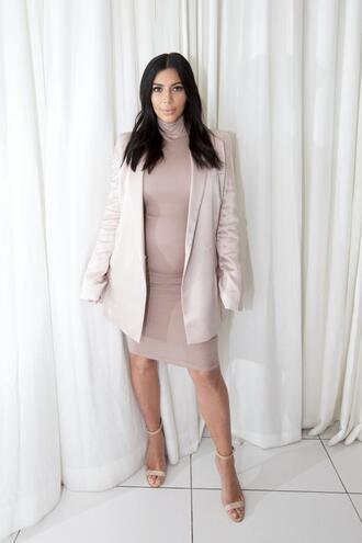 dress jacket blazer kim kardashian nude sandals all nude everything