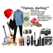 blouse,clothes,bag,obey,starbucks coffee,mtv,hipster,anchor,shirt,jacket,outfit,beanie,black jeans,black skinny jeans,guitar