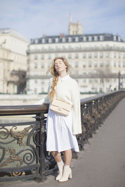 making magique blogger jewels dress sweater bag shoes tights socks