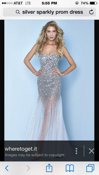 dress silver dress silver sequin dress prom dress strapless dress sparkly dress
