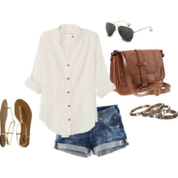 shirt chiffon blouse white denim shorts thong sandals brown leather satchel gold bracelet shades cute summer outfits bag clothes blouse button up quarter sleeve beige beach button up blouse purse and handbags brands