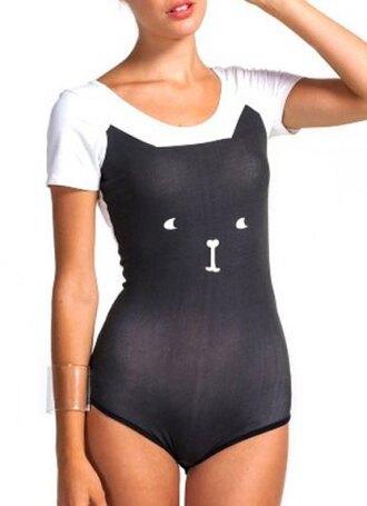 top bodysuit cats cute trendy cute scoop neck short sleeve kitten print women's bodysuit summer black white fashion style rosegal-dec