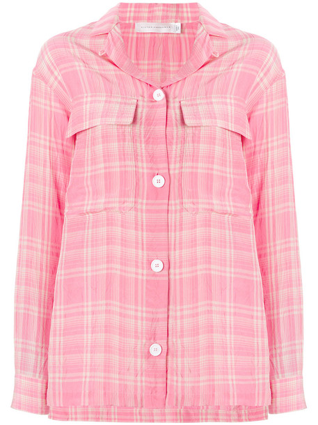 Victoria Beckham shirt checked shirt women silk purple pink top