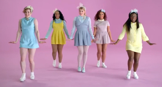 meghan trainor all about that bass music video button up layers collar white collar yellow lavendar wjit white tights megan good