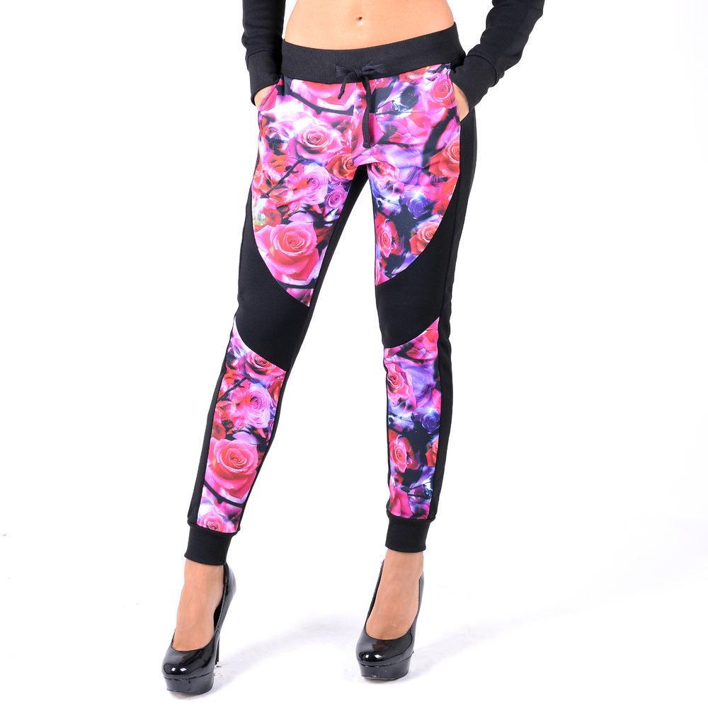 Color floral print elastic drawstring jogger pants size sml pl419