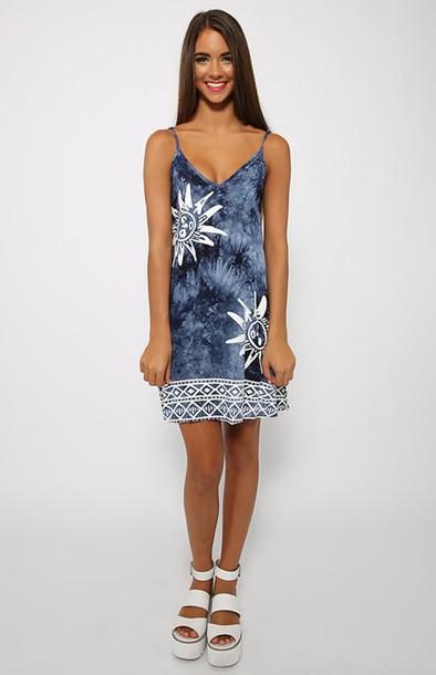 dress print blue sun tie dye