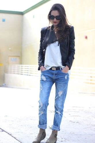 frankie hearts fashion blogger shoes sunglasses ripped jeans black jacket white t-shirt jacket shirt jeans