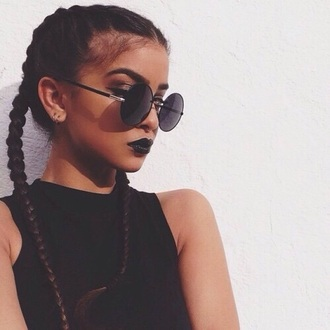 sunglasses braid blvck badass grunge glasses circle lenses