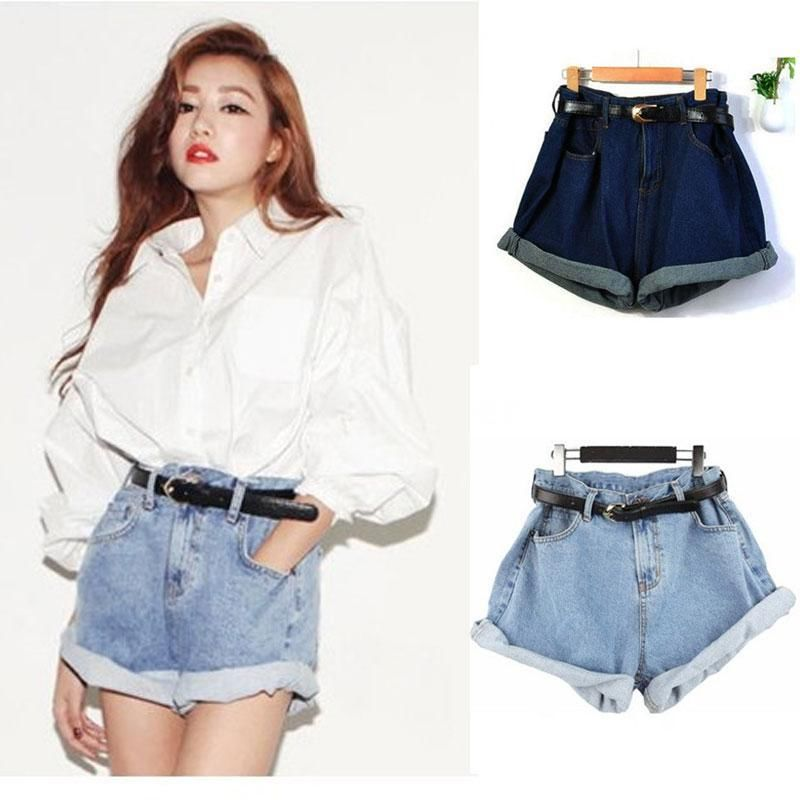 High Waisted Oversize Crimping Boyfriend Jeans Shorts Pants